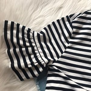 After Market Tops - After Market Stripe Flare Sleeve Top